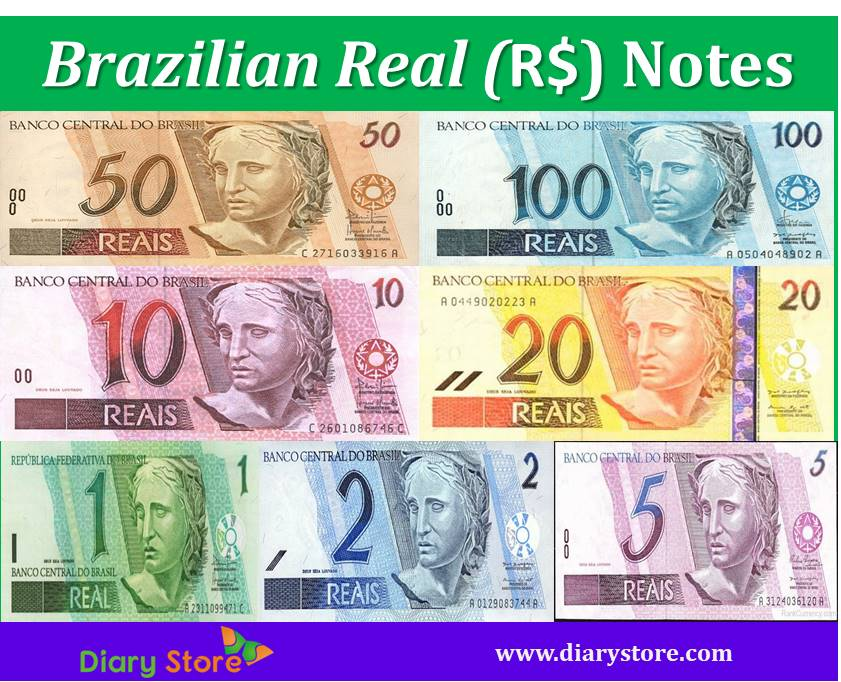 Brazilian Real Brazil Currency Brl Centavo Diary Store