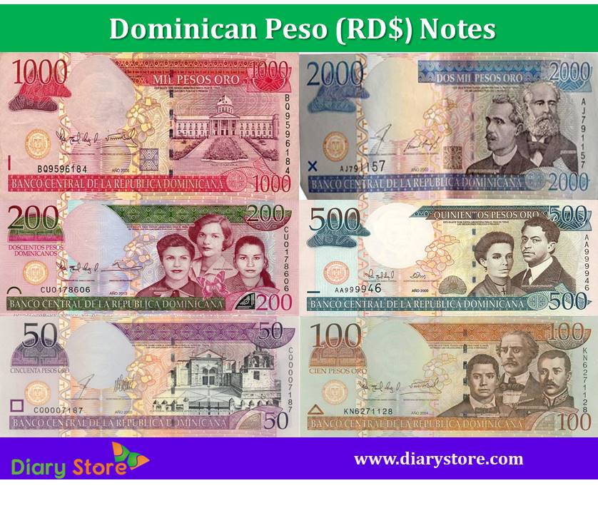 Dominican Peso Currency Dominican Republic Diary Store