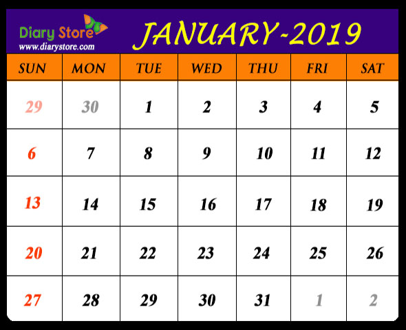 January 2019 Calendar All Countries Holidays List Global