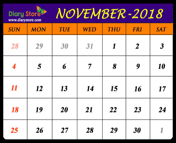 November Calendar Design : November calendar all countries holidays list