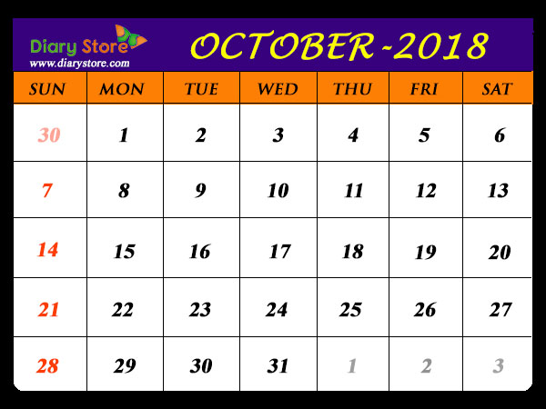 October 2018 Calendar All Countries Holidays List Global